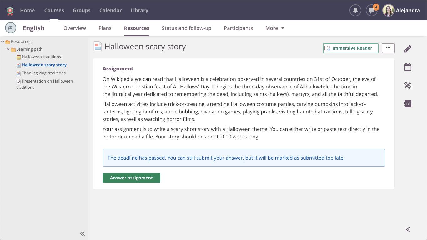 screenshot immersive reader
