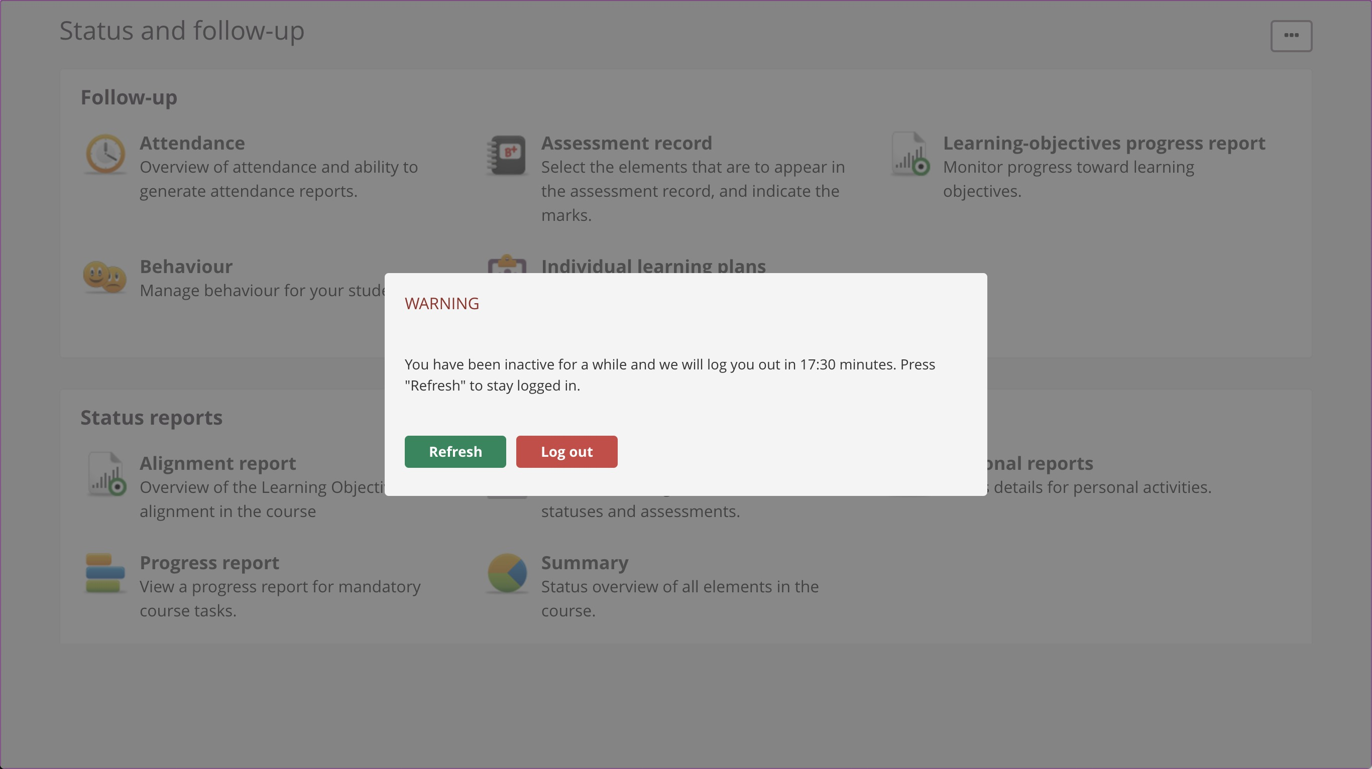 screenshot automatic logout