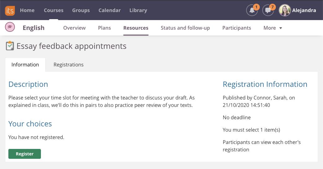screenshot registration participant view