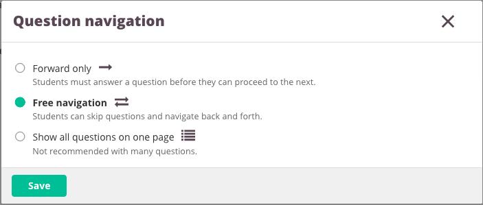 question navigation screenshot