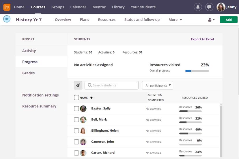 screenshot progress report in 360 reports