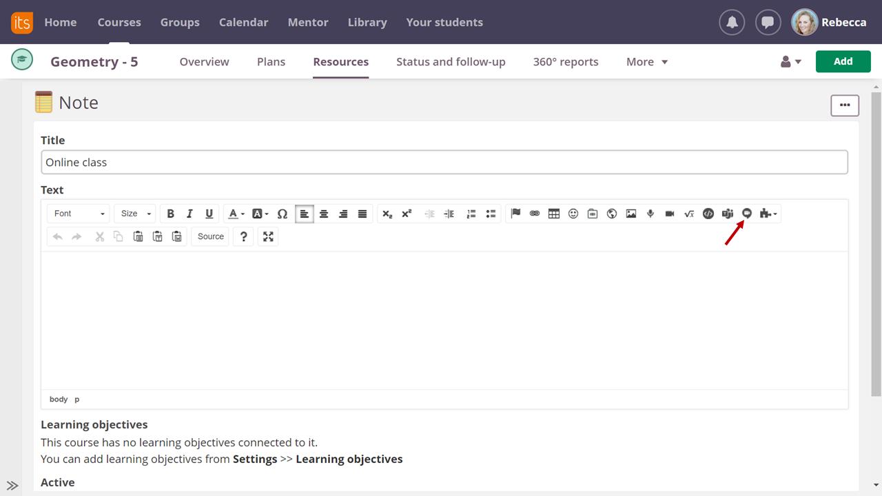 screenshot of Google Meet icon in text editor