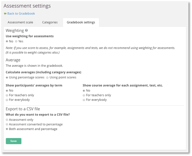 screenshot assessment settings