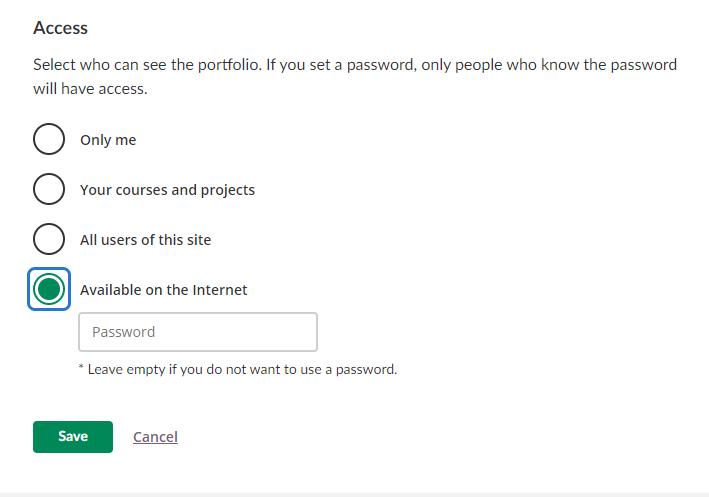 screenshot eportfolio access