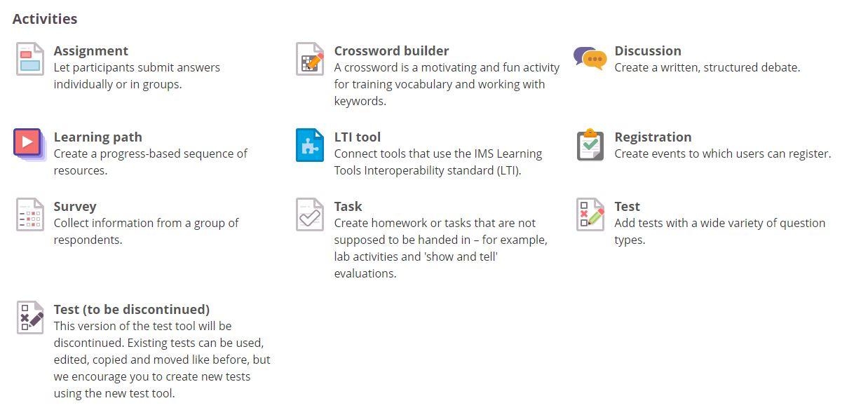 activities screenshot