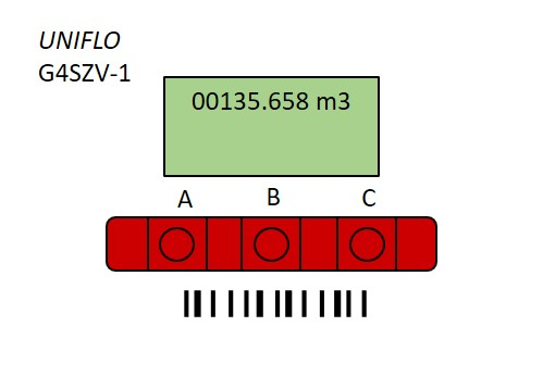 Gas smart meter example with three red buttons