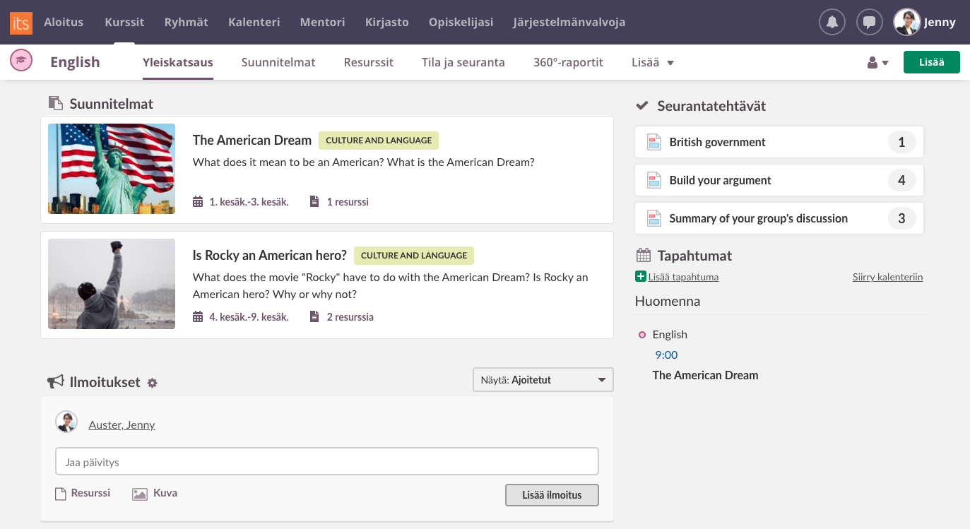 new planner course overview page screenshot
