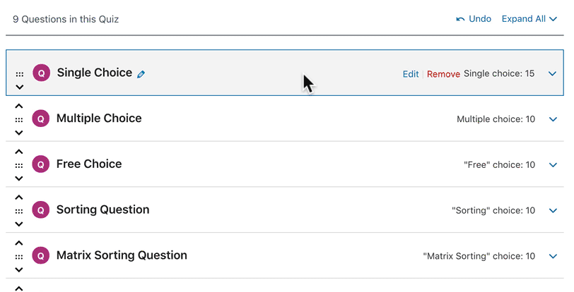 How to edit a question in the LearnDash quiz builder