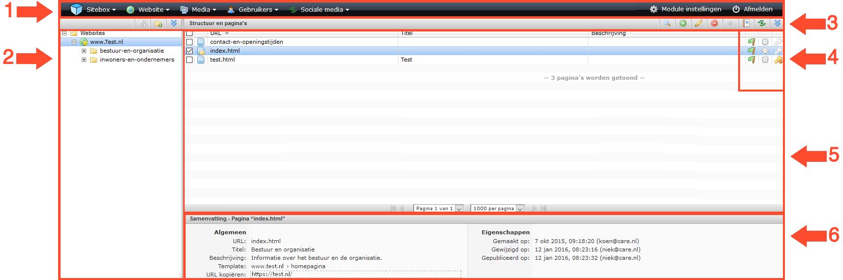 schermafdruk van de complete gebruikersinterface ingedeeld in verschillende delen