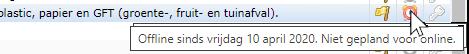 schermafdruk van item offline sinds 10 april door ingestelde planning offline, geen planning voor online
