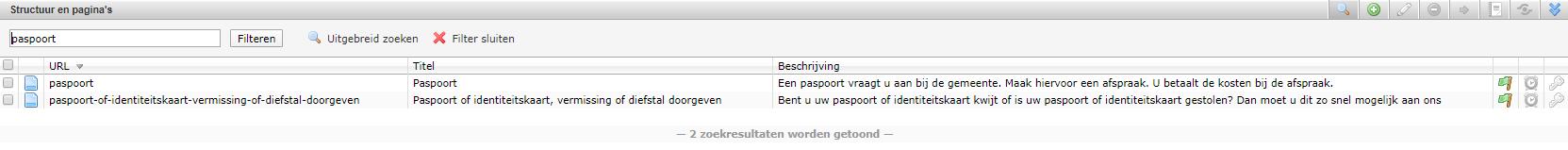schermafdruk van de zoekbalk binnen de module