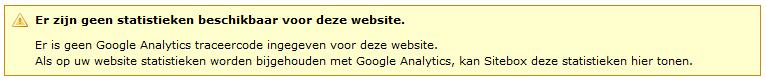 schermafbeelding van de foutmelding er zijn geen statistieken beschikbaar voor deze website. Er is geen Google Analytics traceercode ingegeven voor deze website. Als op uw website statistieken worden bijgehouden met Google Analytics, kan Sitebox deze statistieken hier tonen.