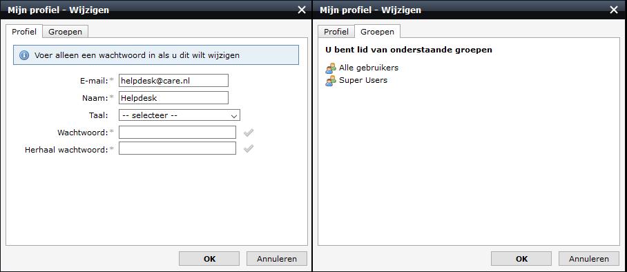 scherm afdruk van de twee tabbladen wanneer je mijn profiel opent