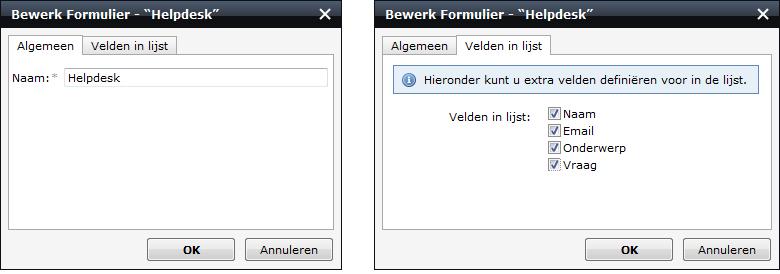 schermafdruk van het schem wanneer je een formulier wijzigt