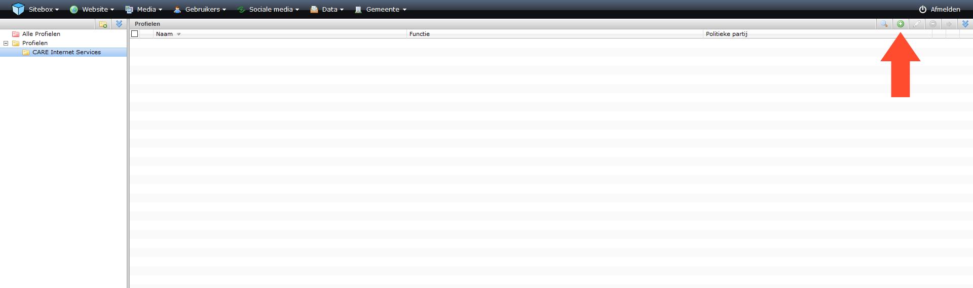schermafdruk van de module profielen met een pijl naar de actieknop toevoegen