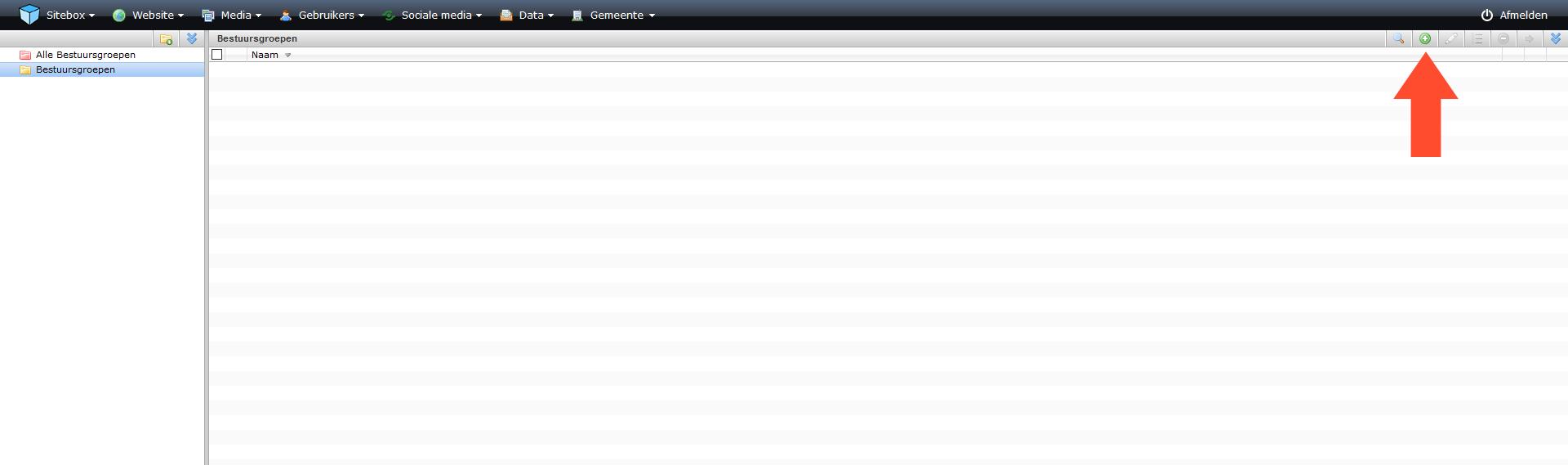 schermafdruk van de module bestuursgroepen met een pijl naar de actieknop toevoegen