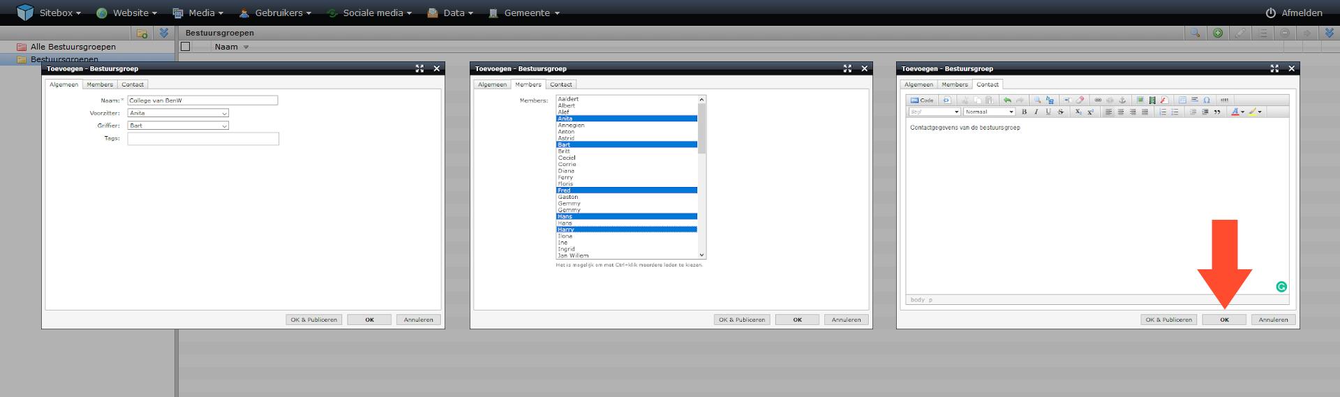 schermafdruk van de drie tabbladen van het scherm bestuursgroep toevoegen