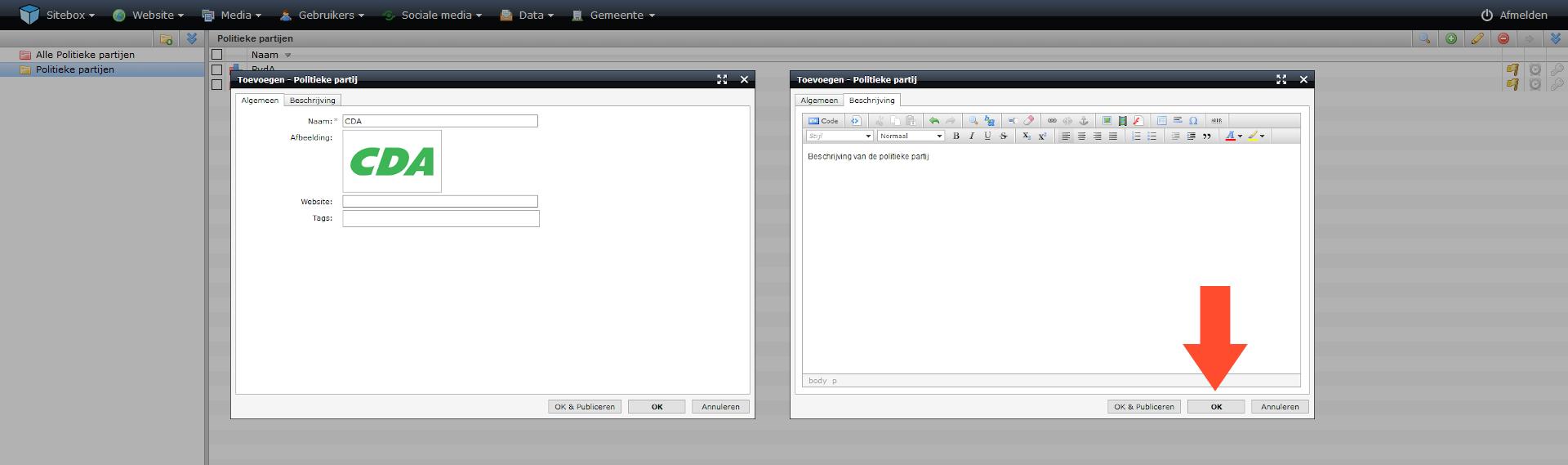 schermafdruk van de twee tabbladen van het scherm politieke partij toevoegen