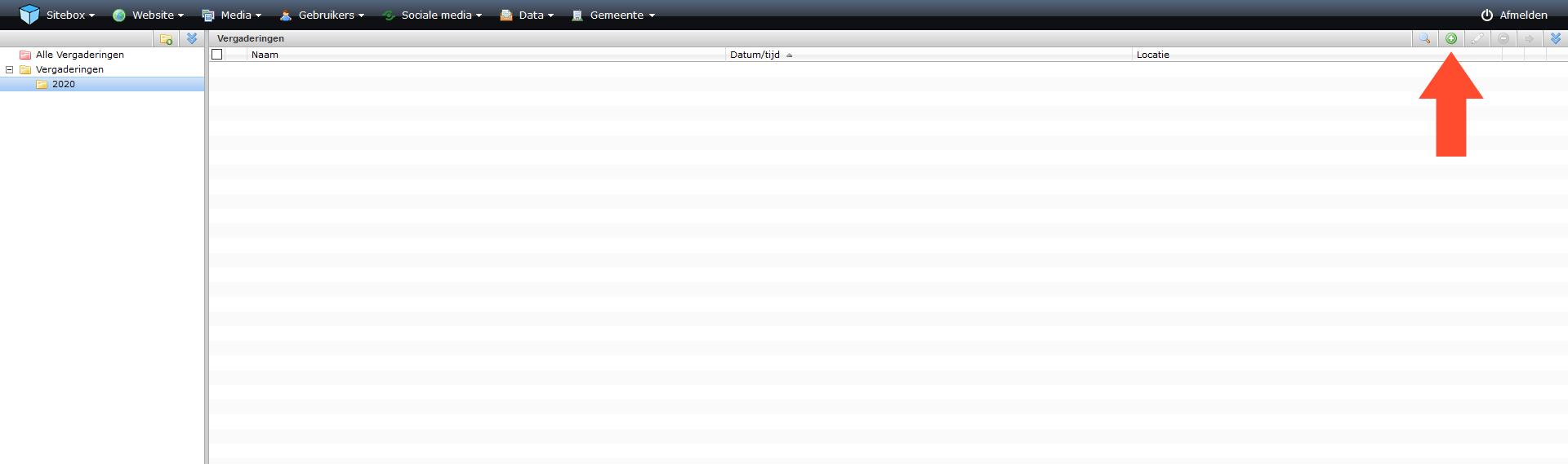 schermafdruk van de module vergaderingen met een pijl naar de actieknop toevoegen