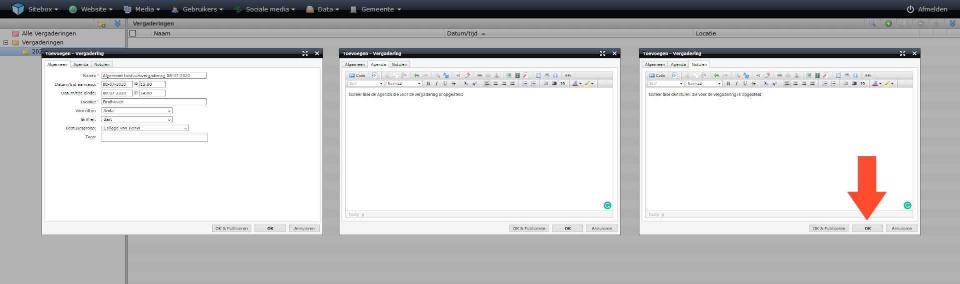 schermafdruk van de drie tabbladen van het scherm vergadering toevoegen