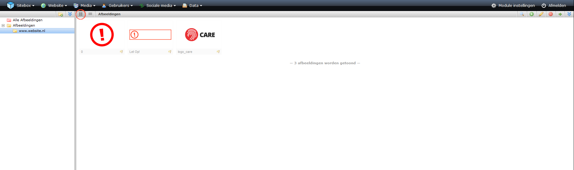 schermafdruk van een overzicht van de module in object weergave