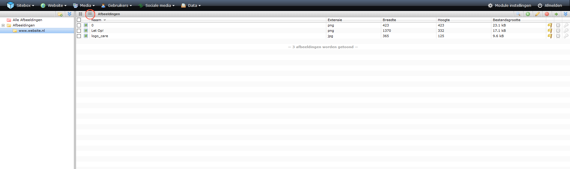 schermafdruk van een overzicht van de module in lijst weergave
