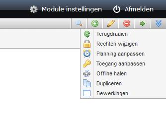 schermafdruk van het menu meer aan de rechterzijde van de pagina