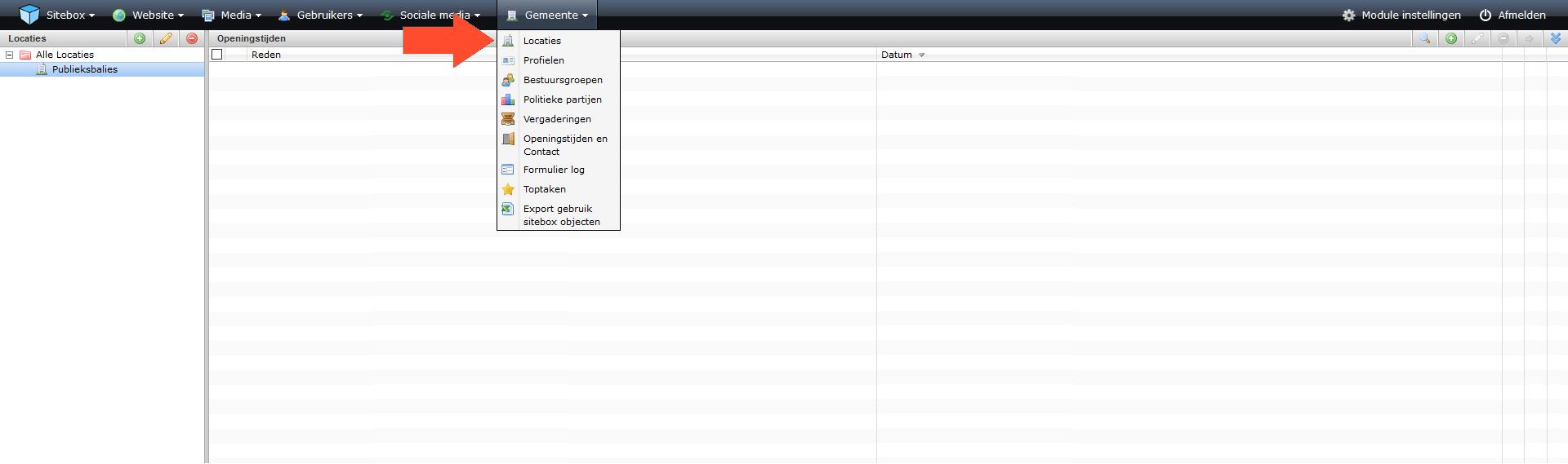schermafdruk van het menu bij het kopje website