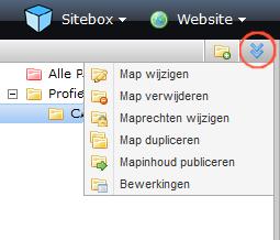 schermafdruk van het menu meer aan de linkerzijde van de pagina wanneer een map is geselecteerd