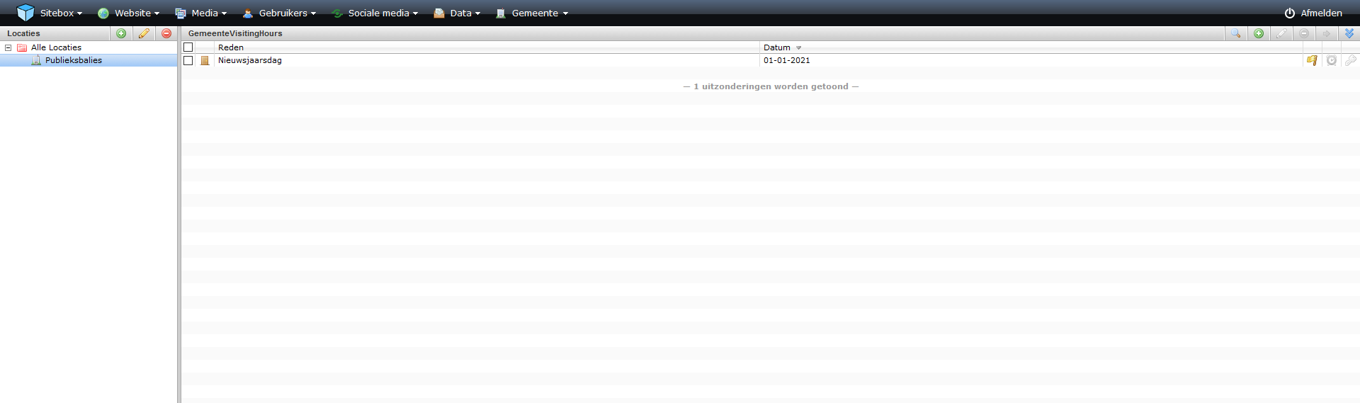 schermafdruk van een overzicht van de module