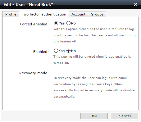 screenshot of the 2FA settings for forcibly enabled