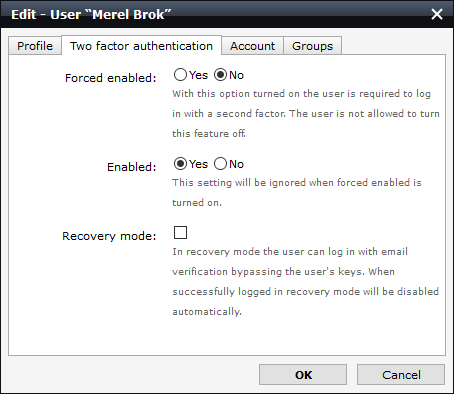 screenshot of the 2FA settings for enabled