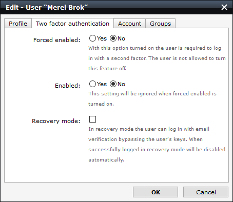 screenshot of the 2FA settings for disabled
