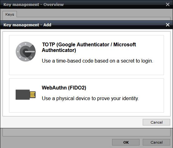 screenshot of choose authentication method