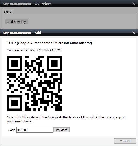 screenshot of validation screen TOTP