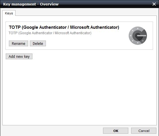 screenshot of added keys TOTP