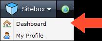 screenshot of menu under the header Sitebox