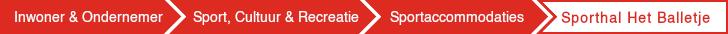 Afbeelding van het kruimelpad op de webpagina met de volgende structuur: Inwoner en ondernemer > Sport, Cultuur en Recreatie > Sportaccomodaties > Sporthal het Balletje