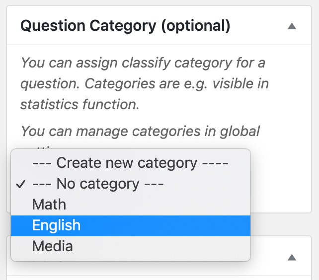 LearnDash question category selection
