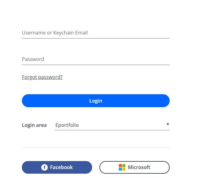 Username or Keychain Email  Password  @rgnpassword?  Login area  Login  Eportfolio  O Facebook  Microsoft