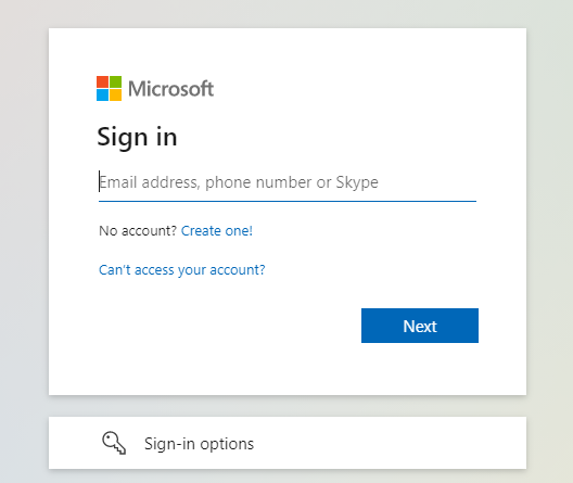 Microsoft  Sign in  k  mail address, phone number or Skype  No account? Create one!  Can't access ßur account?  Next  Sign-in options