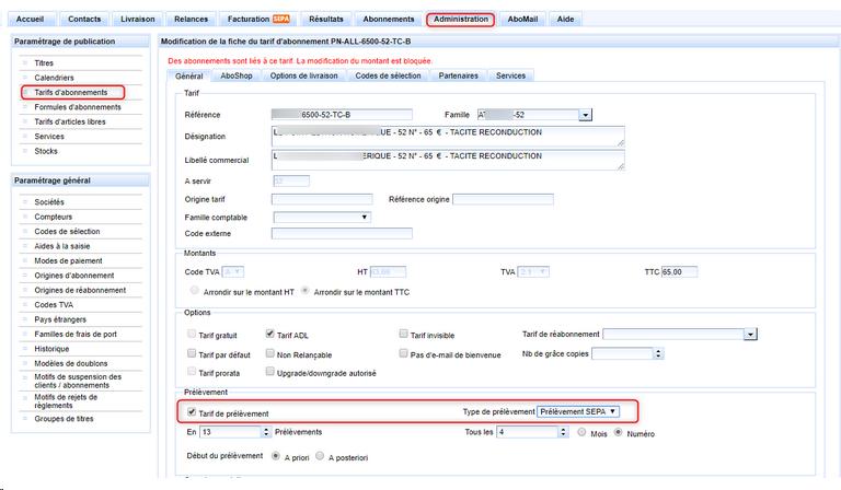 Paramétrage d'un tarif de type prélèvement SEPA