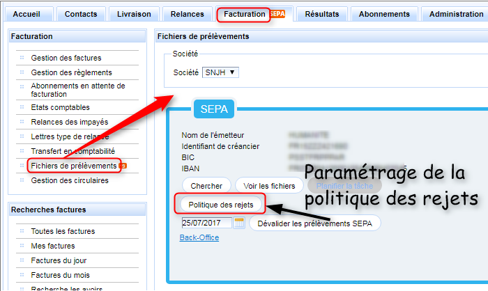 Paramétrage de la politique de rejets SEPA