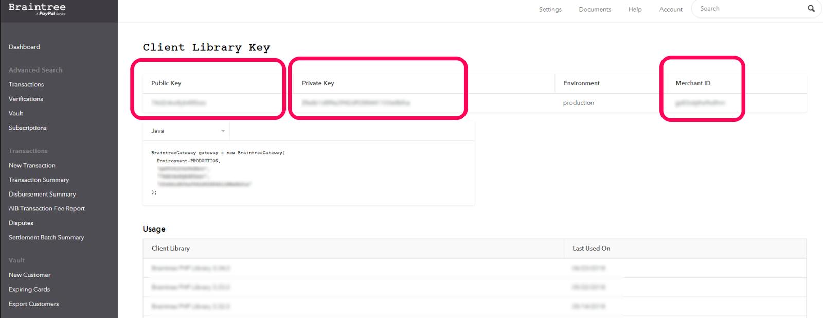 Панел за копиране на Public Key, Private Key и Merchant ID