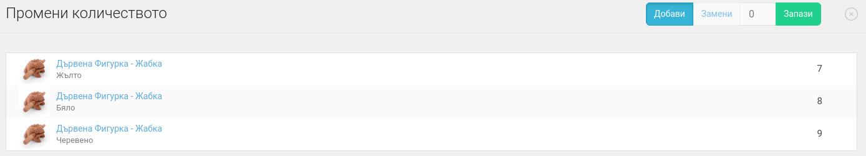 Изглед на панел Промени количеството
