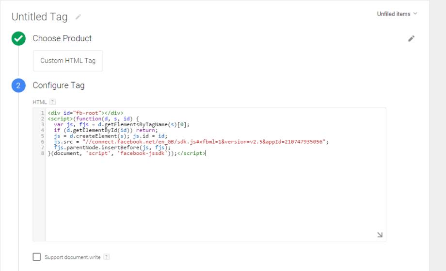 Поставяне на кода в полето Custom HTML Tag