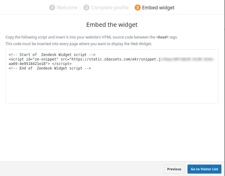 Код за добавяне на плъгина Zendesk