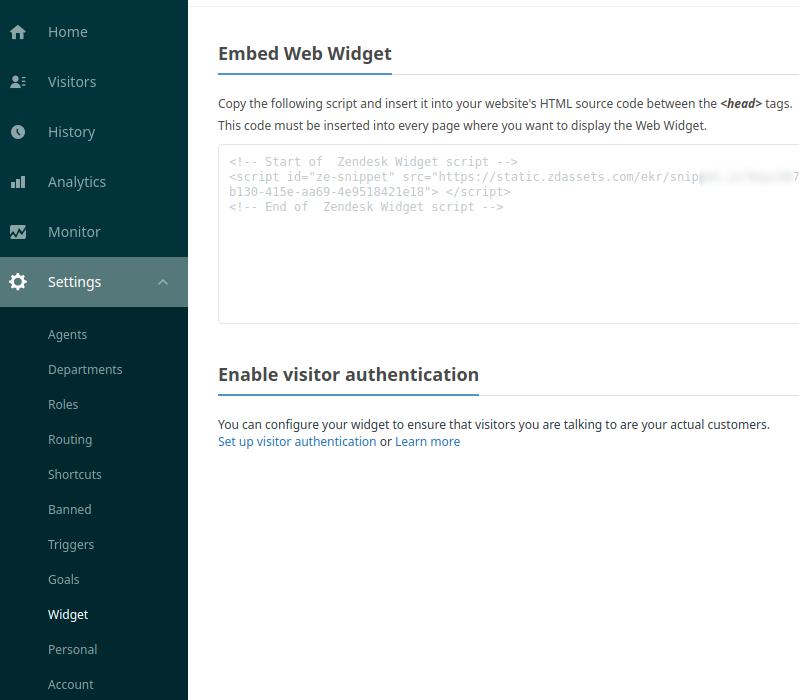 Достъп до кода в профила в Zendesk
