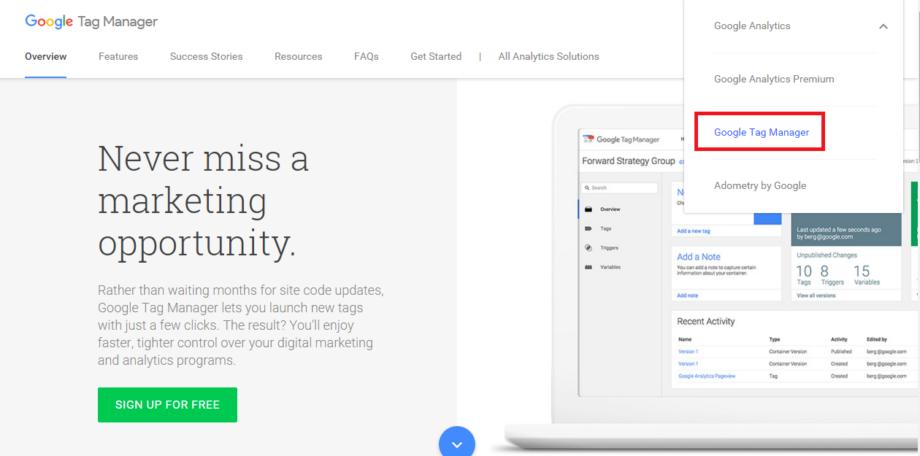 Достъп до официалната страница на Google Tag Manager