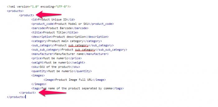 XML таг на продукт